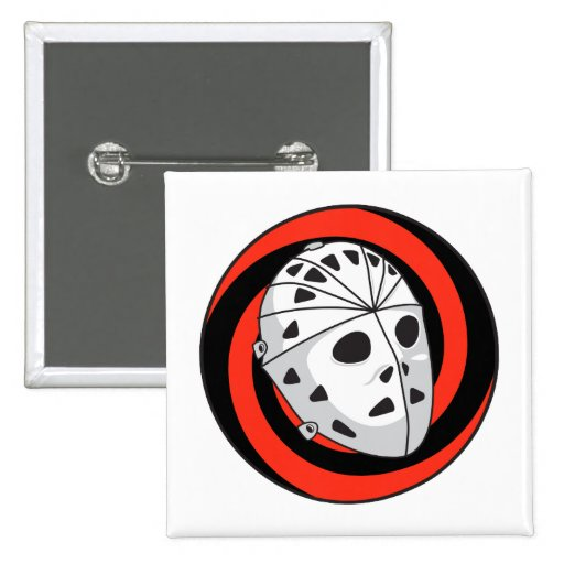 goalie hockey mask red black pinback button
