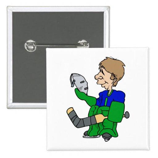 Goalie looking at mask pins