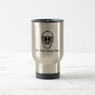 goalie-mask-3, The Puck Stops here Travel Mug