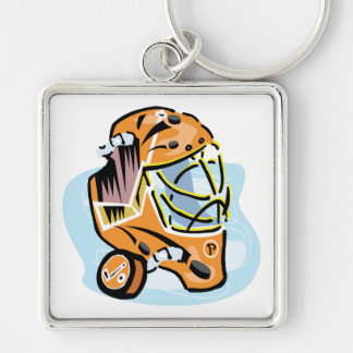 Goalie Mask Gold Silver-Colored Square Keychain