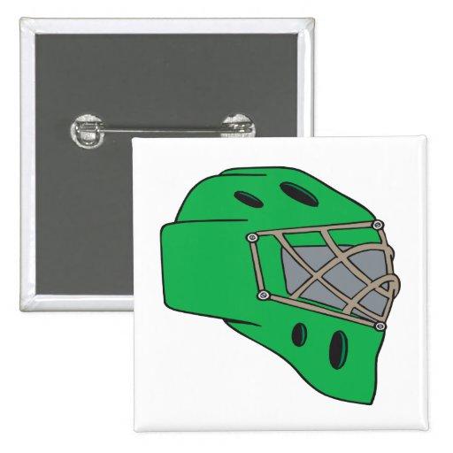 Goalie Mask Green Pinback Buttons