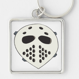 Goalie Mask Silver-Colored Square Keychain
