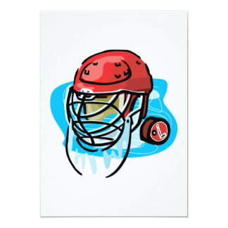 Goalie Mask Red 5x7 Paper Invitation Card