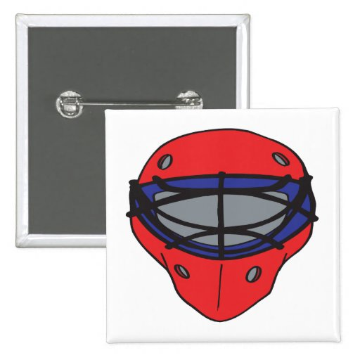 Goalie Mask Red And Blue Pinback Buttons