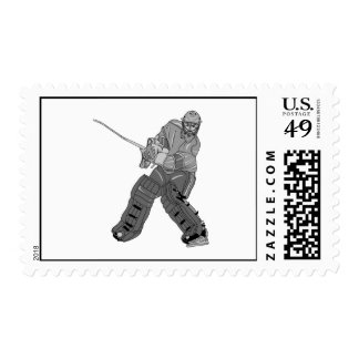 Goalie Player Gray Postage Stamps