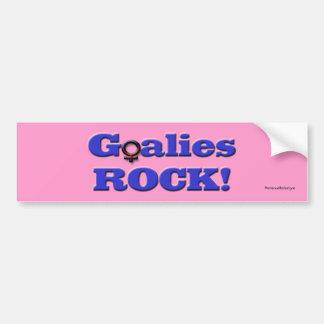 Goalies ROCK!-Female Players/Pink Bumper Sticker