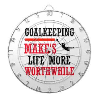 goalkeeping soccer design dartboard with darts