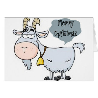 GOAT ALMOST ATE GREETING=MERRY CHRISTMAS HUMOR CARD