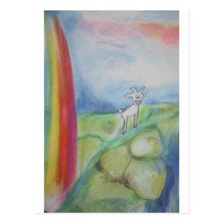 Goat and a Rainbow Postcard