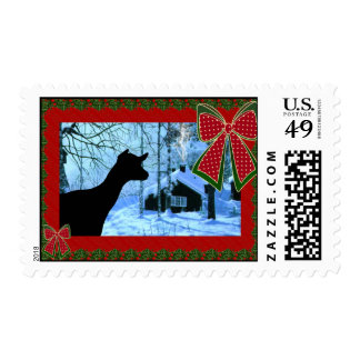 Goat and Cabin Christmas Postage