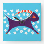 Goat and Flowers Square Wall Clocks