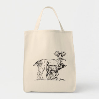 Goat and Kid Grocery Tote Bag