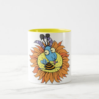 Goat and Sunflower Two-Tone Coffee Mug