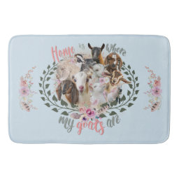 GOAT ART | Home is Where My Goats Are GetYerGoat Bathroom Mat Goat Breeds Painted Portraits