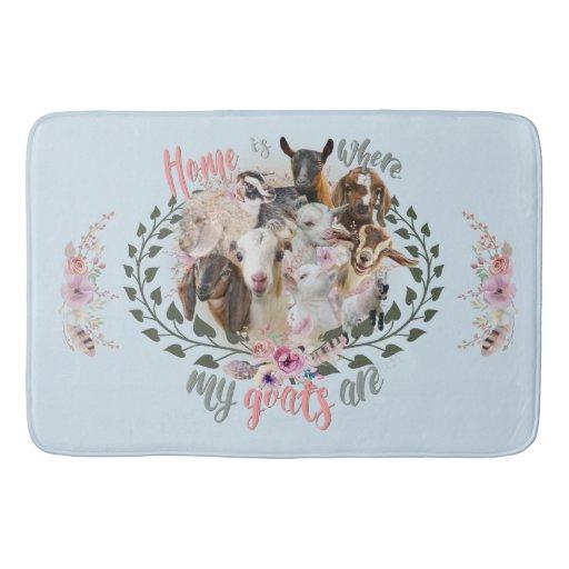 GOAT ART | Home is Where My Goats Are GetYerGoat Bathroom Mat