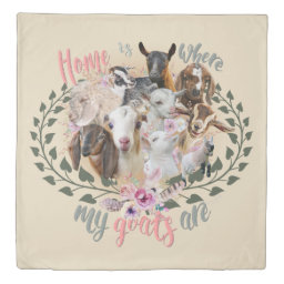 GOAT ART | Home is Where My Goats Are GetYerGoat Duvet Cover Goat Breeds Painted Portraits