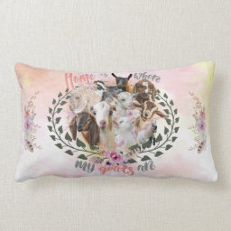 GOAT ART | Home is Where My Goats Are GetYerGoat Lumbar Pillow Goat Breeds Painted Portraits