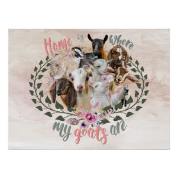 GOAT ART | Home is Where My Goats Are GetYerGoat Poster Goat Breeds Painted Portraits