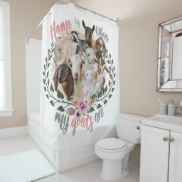 GOAT ART | Home is Where My Goats Are GetYerGoat Shower Curtain Goat Breeds Painted Portraits