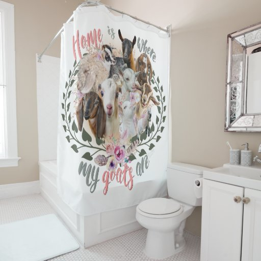 GOAT ART | Home is Where My Goats Are GetYerGoat Shower Curtain