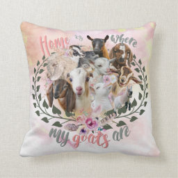GOAT ART | Home is Where My Goats Are GetYerGoat Throw Pillow Goat Breeds Painted Portraits