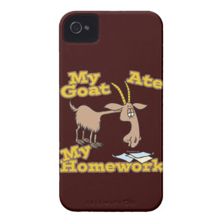 goat ate my homework funny cartoon Case-Mate iPhone 4 cases