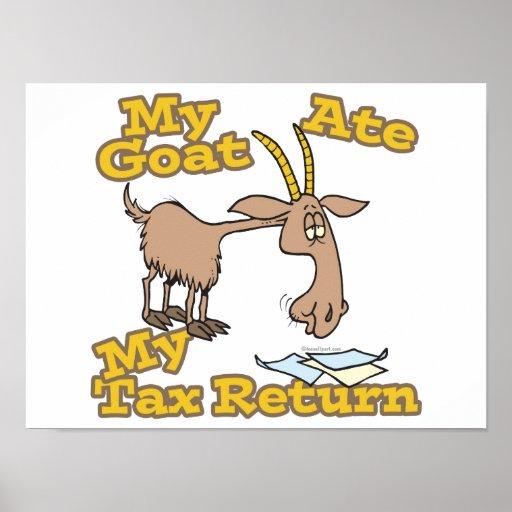 goat ate my tax return cartoon poster
