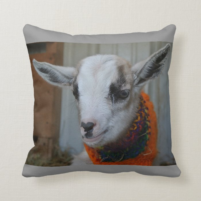 Farm Animal Pillow Pets : Goat Baby Kid with Sweater Barnyard Farm Animal Throw Pillow Zazzle