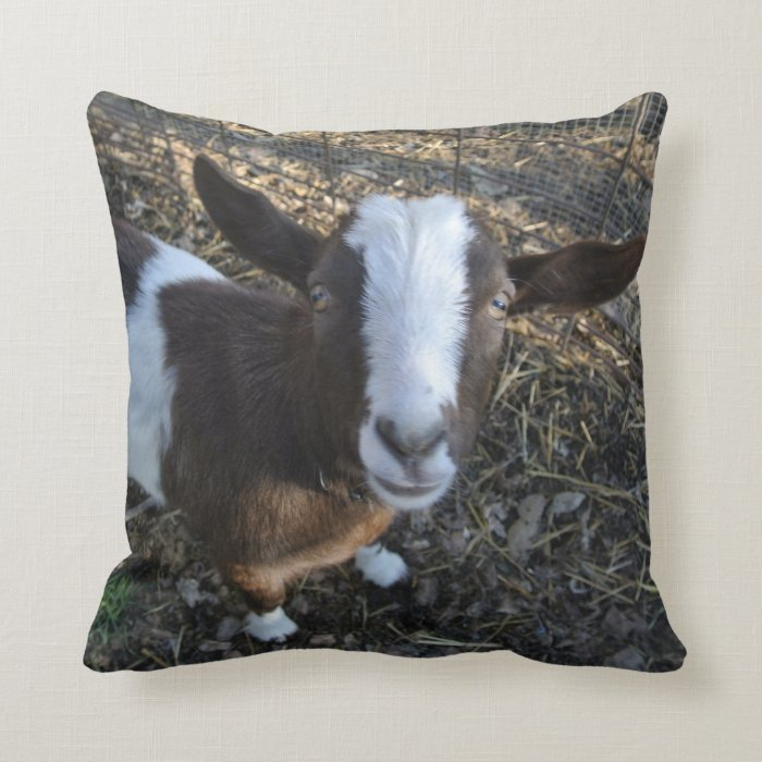Farm Animal Pillow Pets : Goat Barnyard Farm Animal Throw Pillow Zazzle