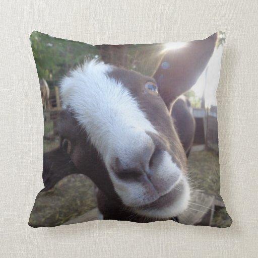 Farm Animal Throw Pillows : Goat Barnyard Farm Animal Throw Pillow Zazzle
