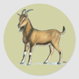 Goat:  Brown Classic Round Sticker