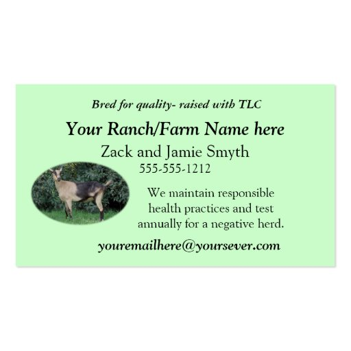 Goat Business Card-add your own picture & words