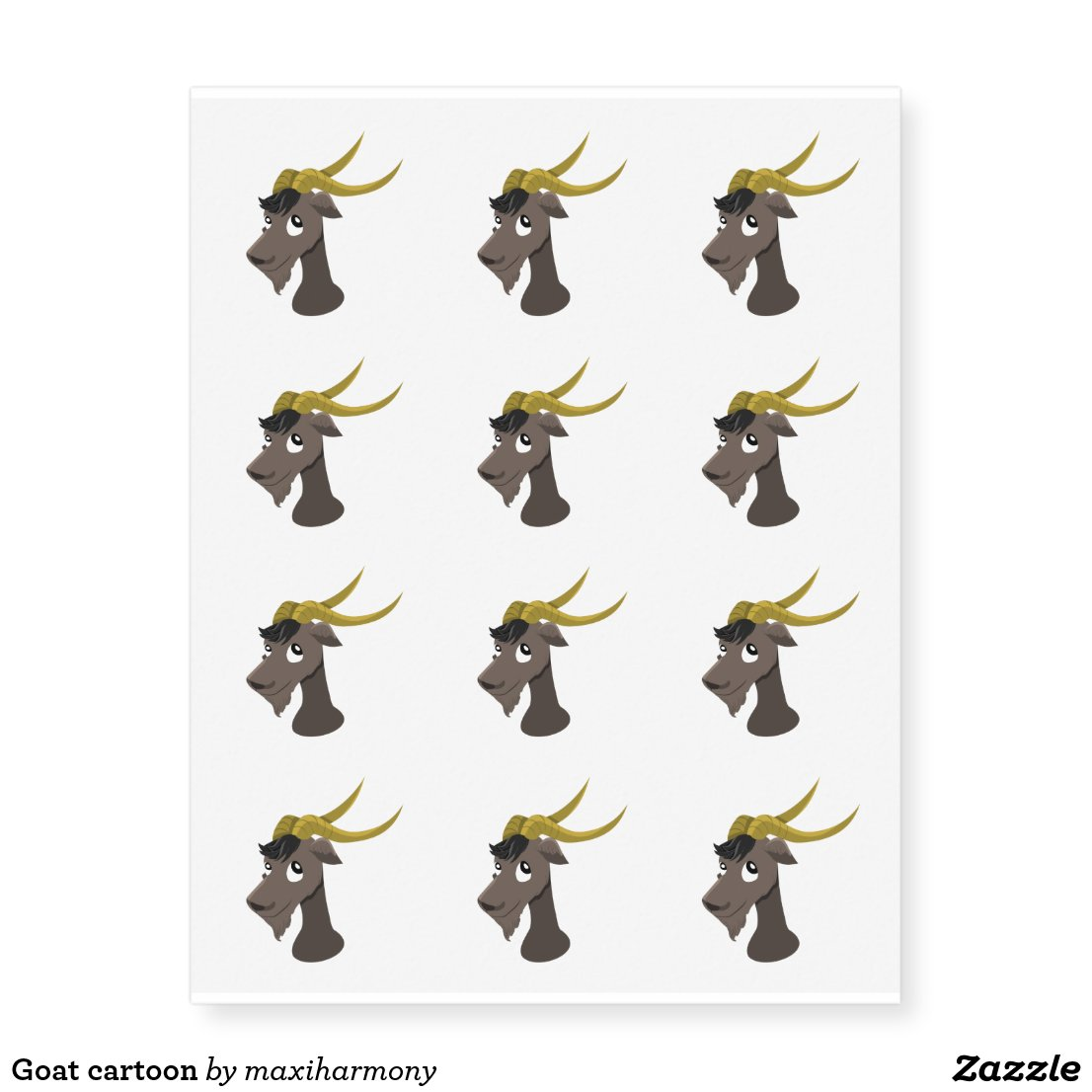 Goat cartoon temporary tattoos