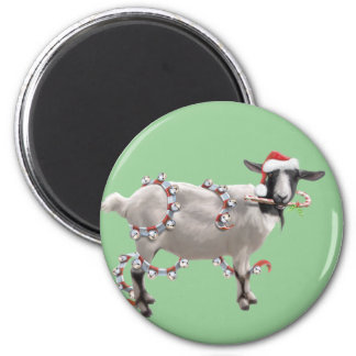 Goat Christmas 2 Inch Round Magnet