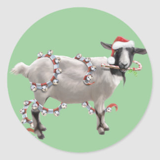 Goat Christmas Round Stickers
