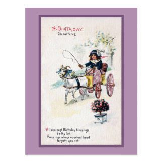 Goat Drawing Buggy Vintage Birthday Postcard