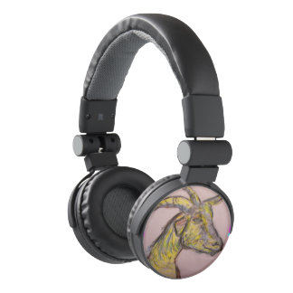 goat drawing headphones