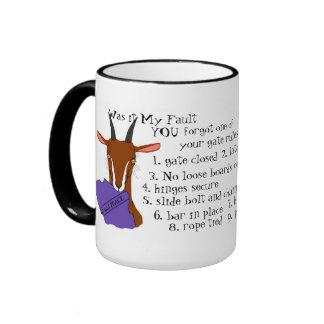 Goat, escape artist, toggenburg, sannen ringer coffee mug