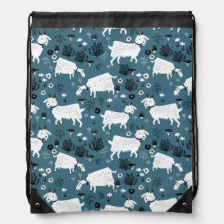 Goat Farm Animal Blue Baby Kid Boy / Andrea Lauren Drawstring Backpack