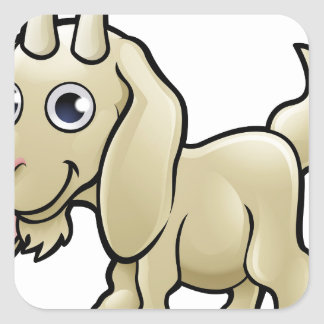 Goat Farm Animals Cartoon Character Square Sticker
