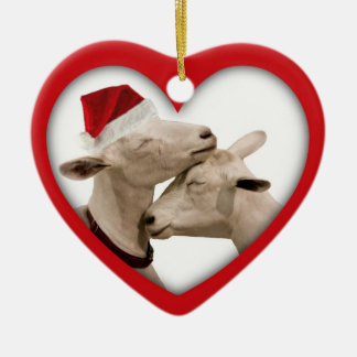 Goat Farmer Lovers Wedding or Anniversary Heart Double-Sided Heart Ceramic Christmas Ornament