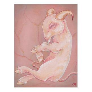 Goat fetus creepy oddity gothic lowborw postcard