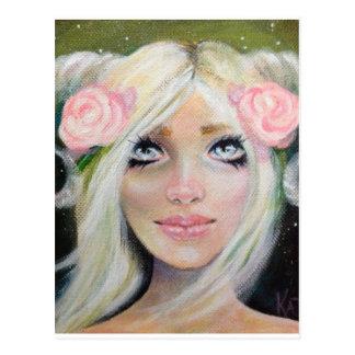 Goat Girl ~ Blonde girl with goat horns Postcard