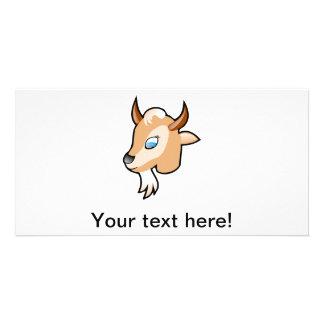 Goat head cartoon photo card template
