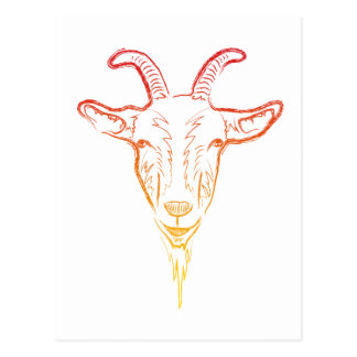 goat illustration post card