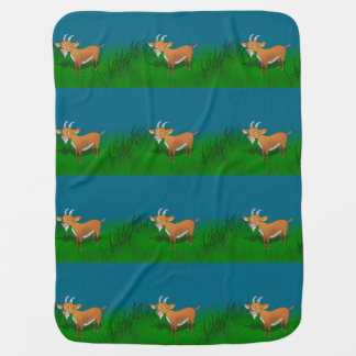 Goat in long grass swaddle blanket