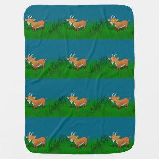 Goat in long grass swaddle blanket