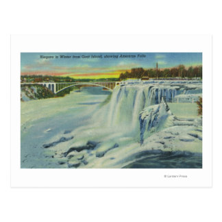 Goat Island View of American Falls in Winter Postcard