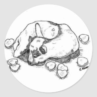 Goat Kid Sleeps among Candy Hearts Stickers