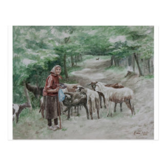 Goat Lady, Ravna Gora Postcard